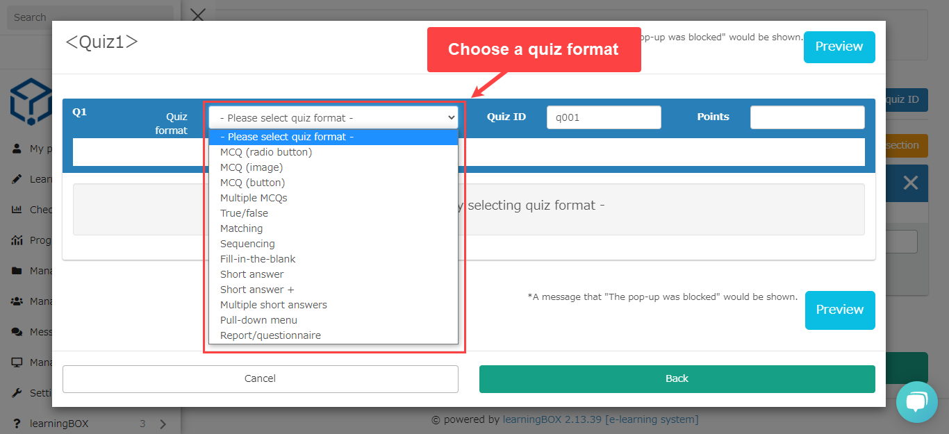 earningBOX - choose the format of the question