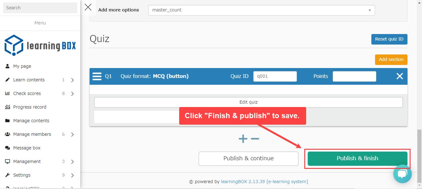 learningBOX-Publish button