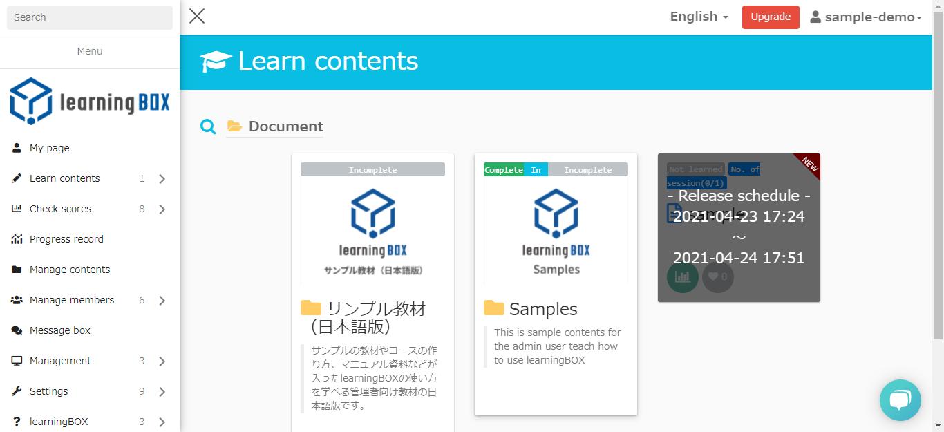 Create a learningBOX-test