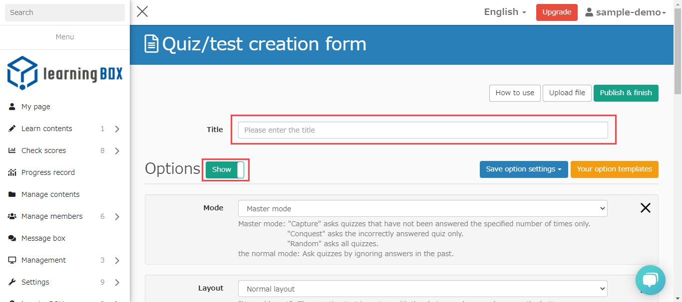 Quiz Creation Form
