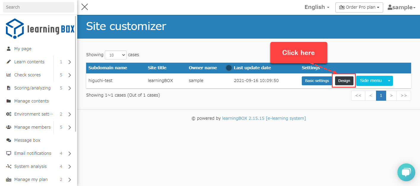 Site Customizer [Change the design].