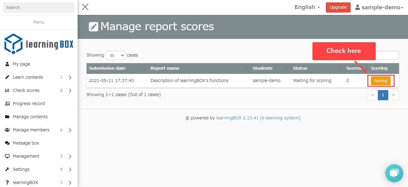 learningBOX-Report Grading