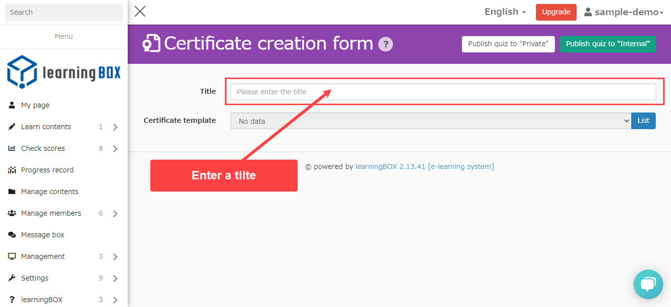 learningBOX-Certificate Creation Form