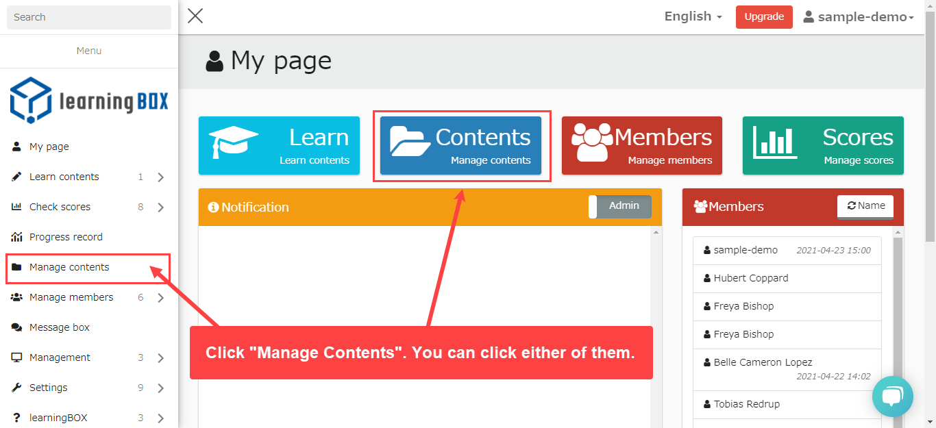 learningBOX content features