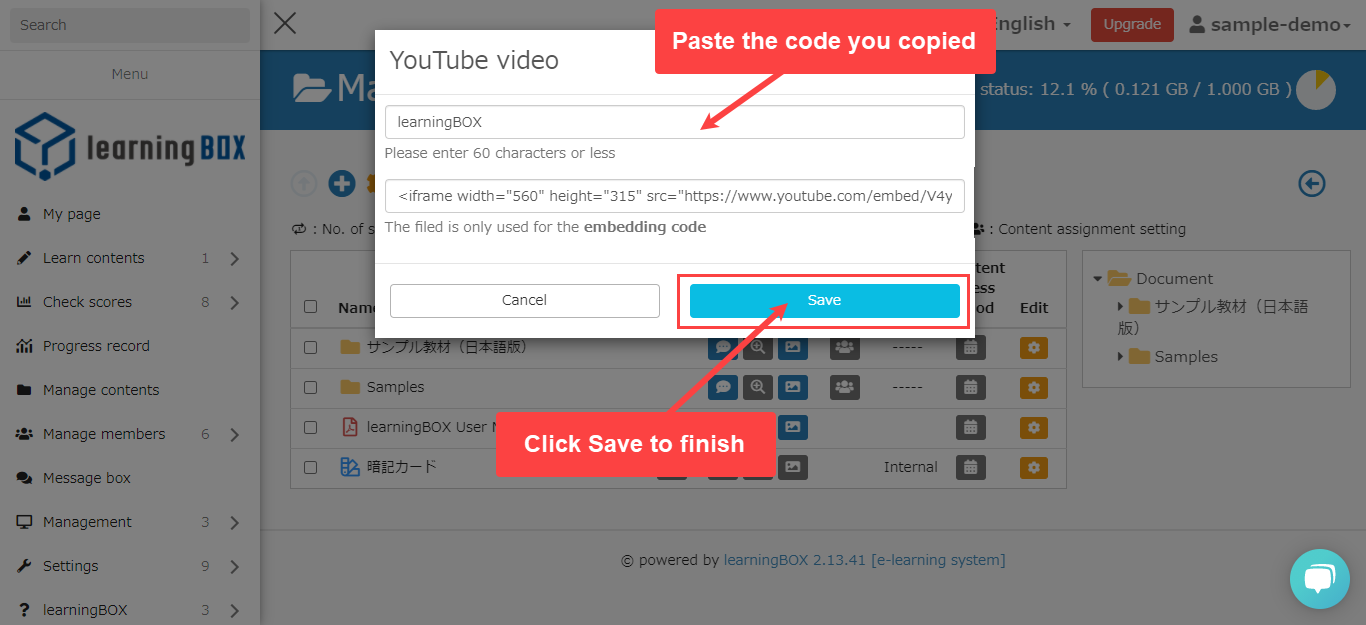 learningBOX - How to set up a YouTube video