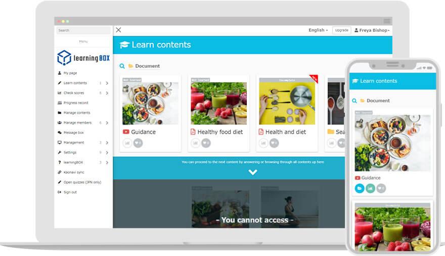 learningBOX learning screen