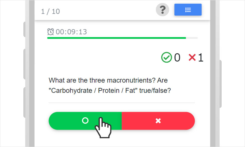 Quiz answer screen