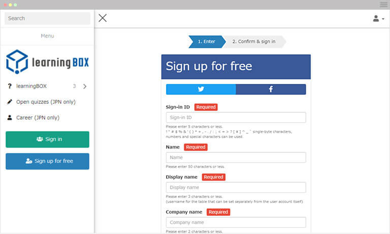 Go to Free registration page