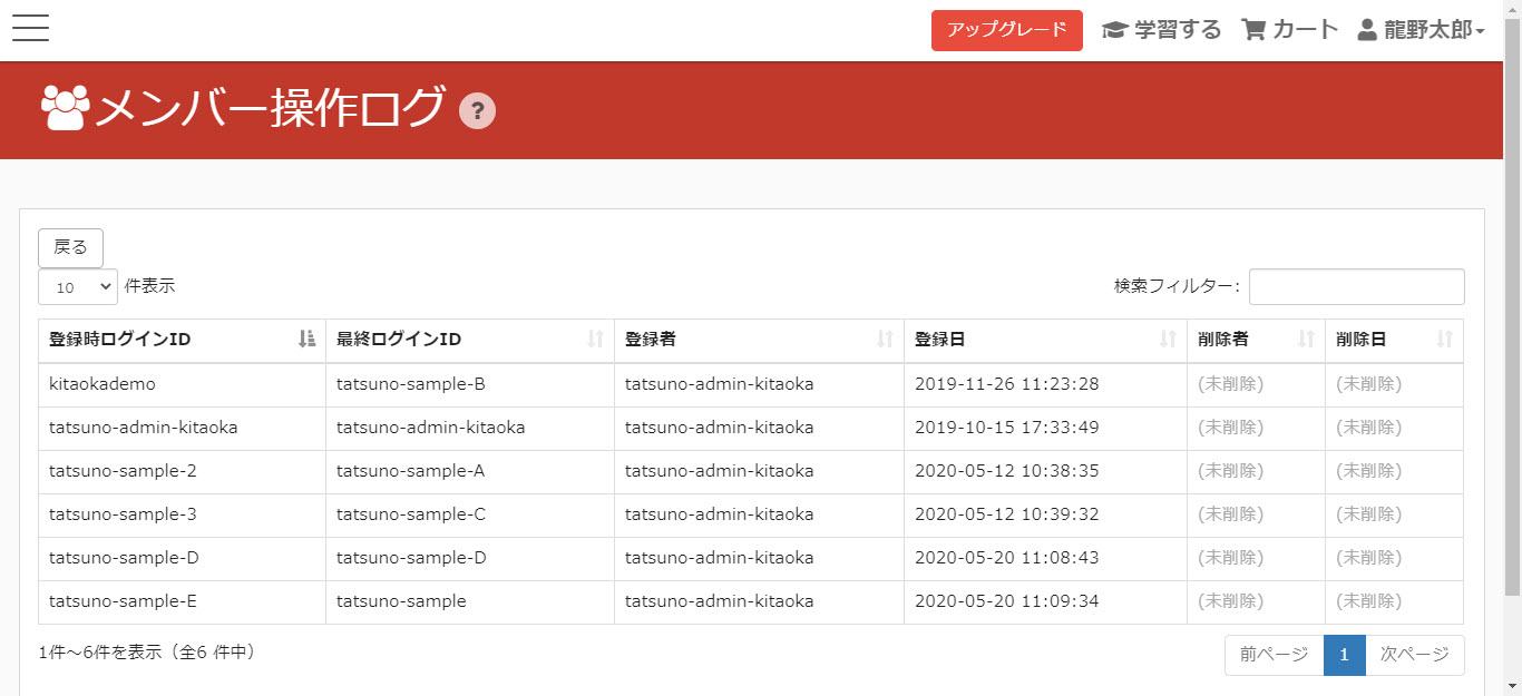 learningBOX-member operation log