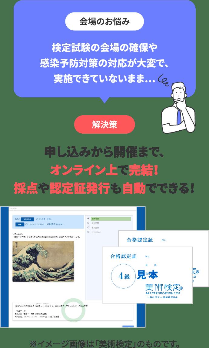 会場のお悩み:会場確保、感染対策など大変。解決策:オンライン検定で完結!採点や認定証発行も自動でできる!