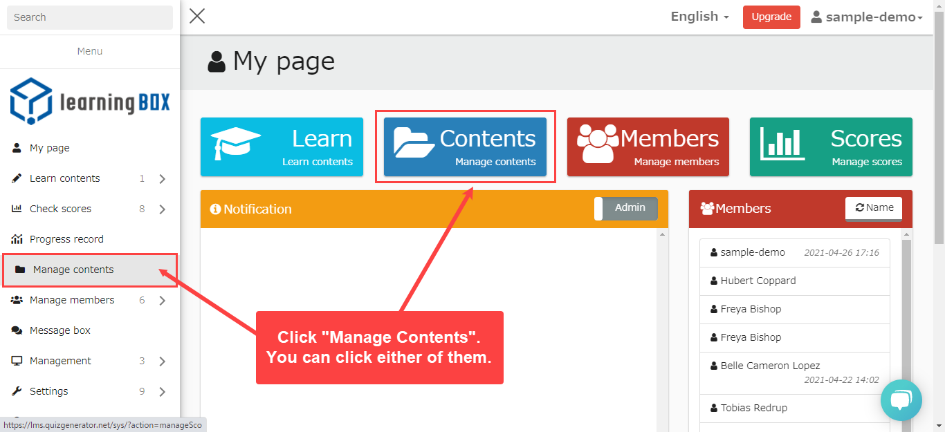 LearningBOX content management features